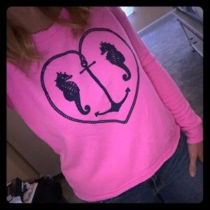 Bright pink nautical themed sweatshirt